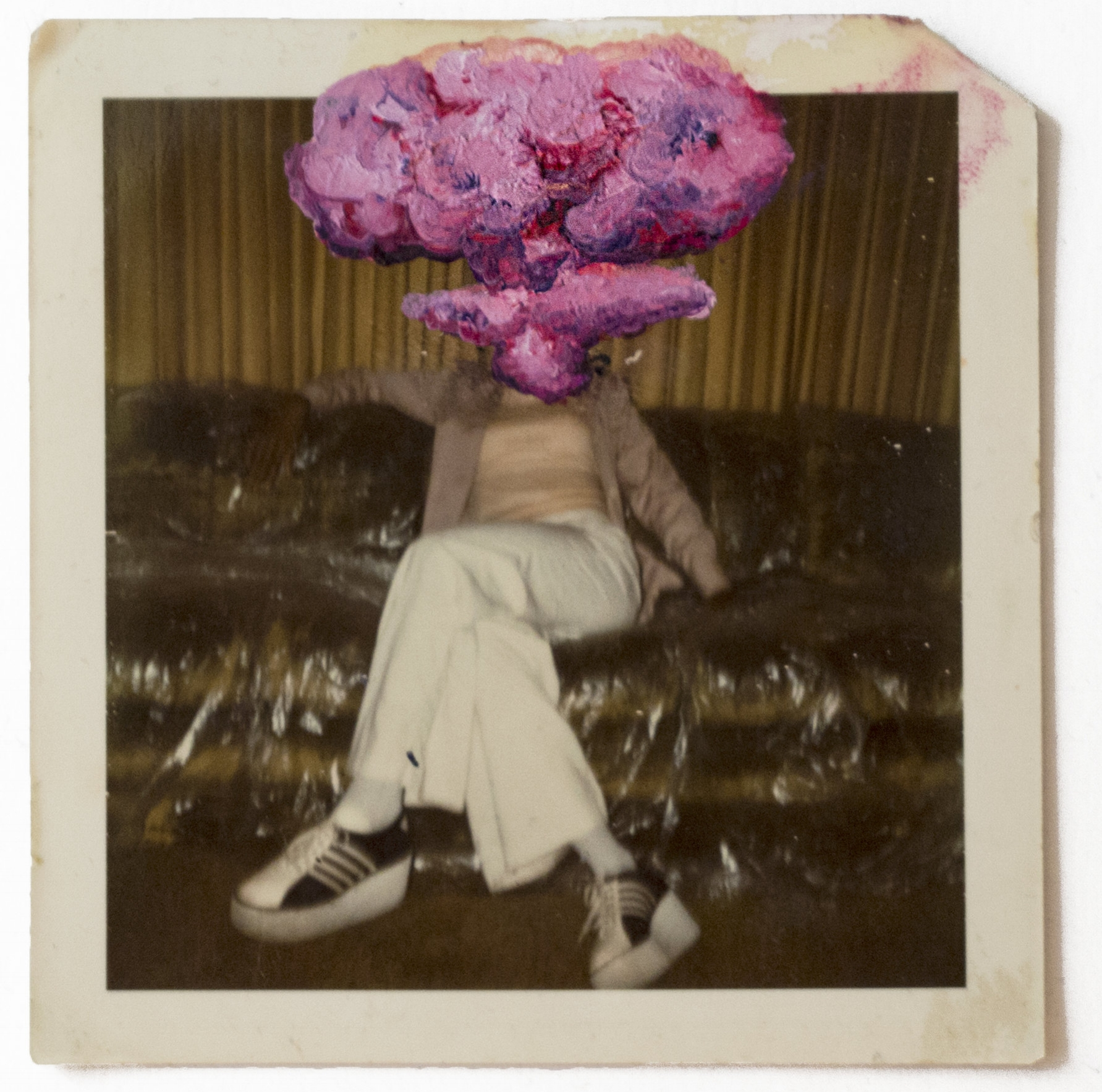 - |NUCLEAR FAMILY|    MASKED MEMORIESoil on vintage photograph