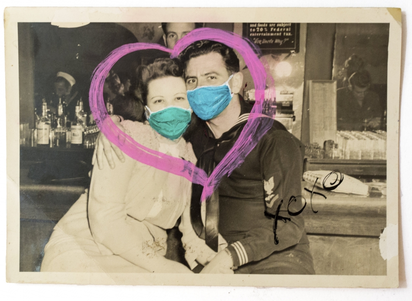 - |ANONYMOUS LOVE| MASKED MEMORIESoil + marker on vintage photograph