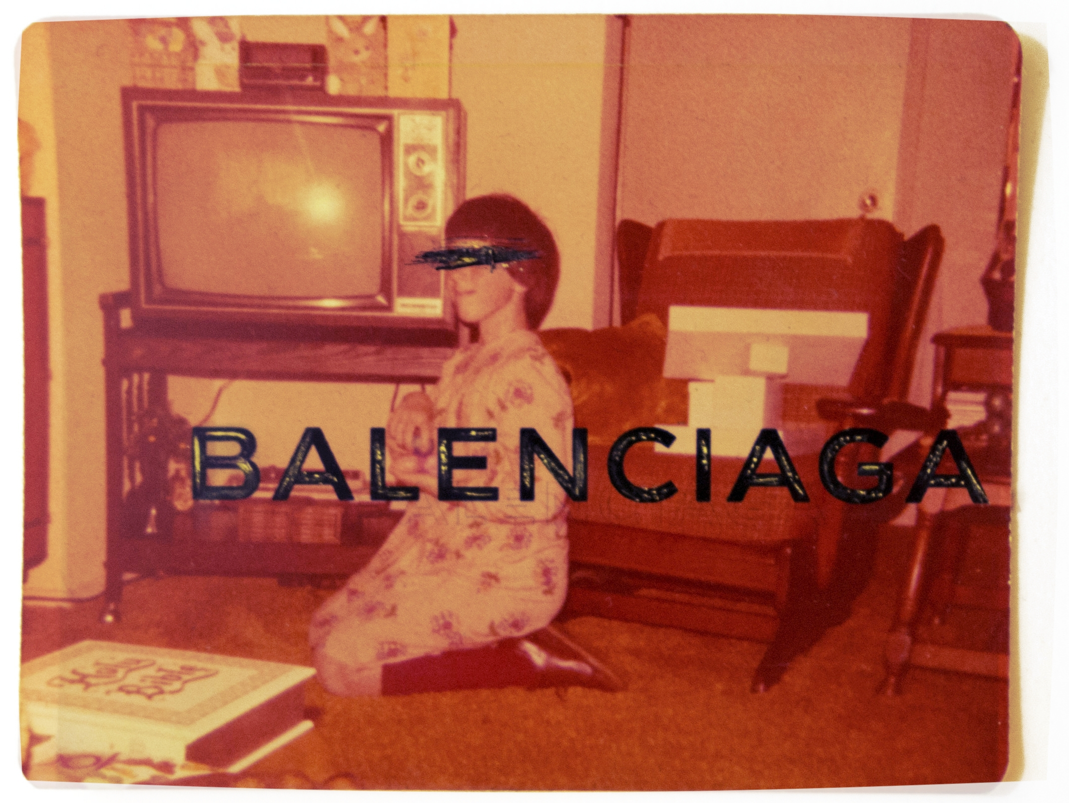 - |CHRISTMAS MORNING: by BALENCIAGA|MASKED MEMORIES    oil + pen + digital media on vintage photograph
