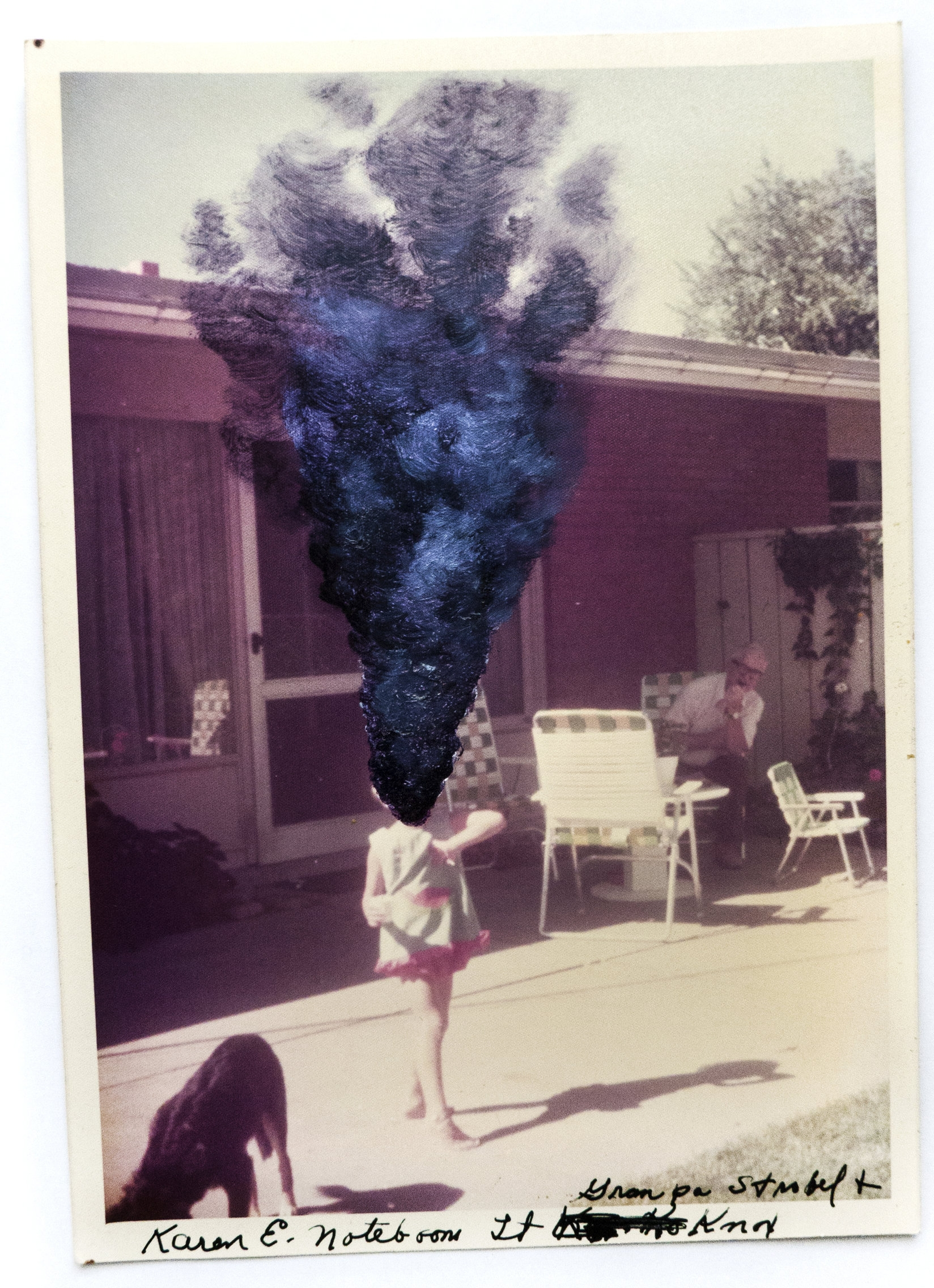 - |PURPLE SMOKE IN PLAY| MASKED MEMORIES oil on vintage photograph