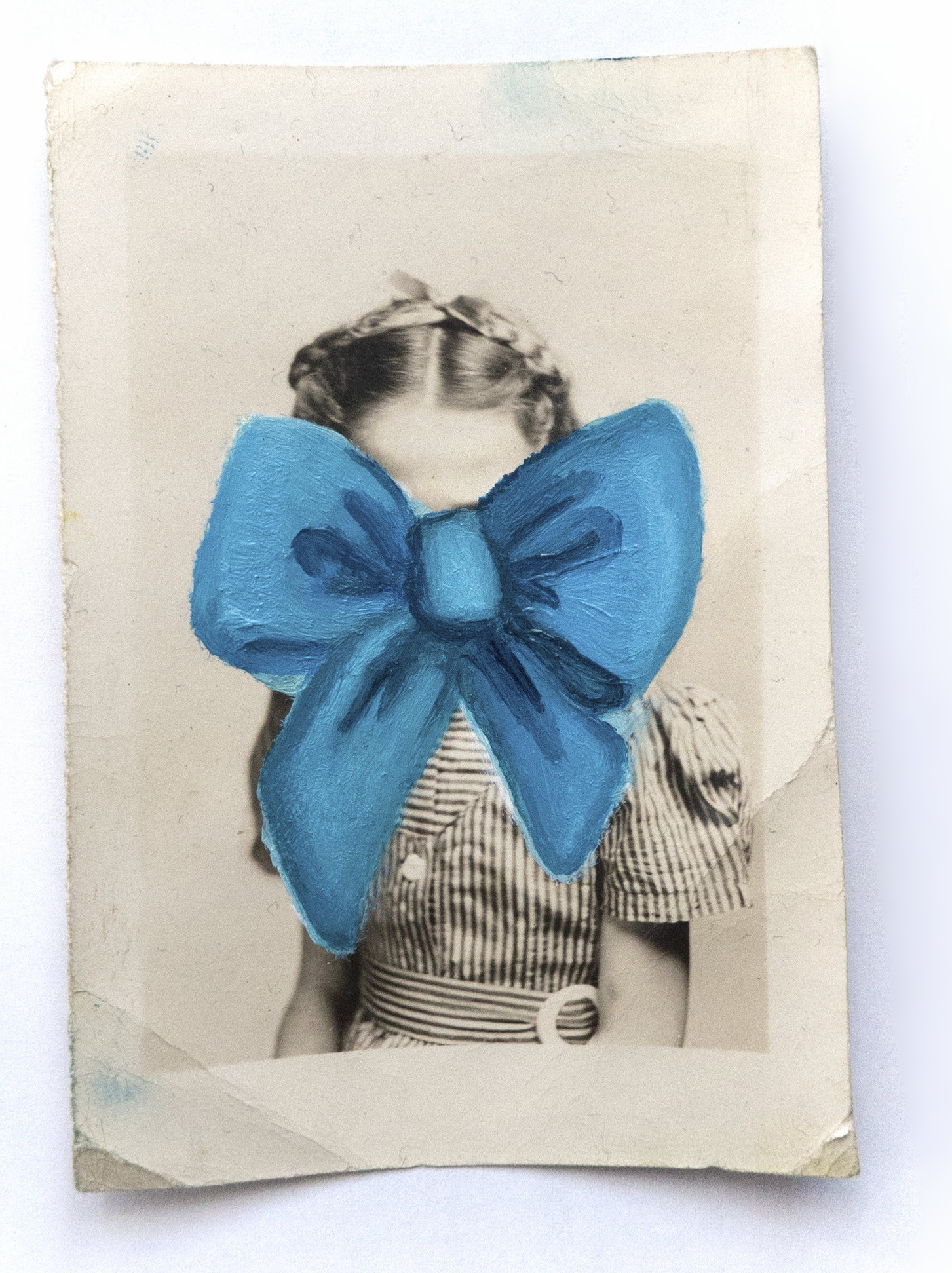 - |BLUE RIBBON (AT 5YRS OLD)| MASKED MEMORIESoil on vintage photograph