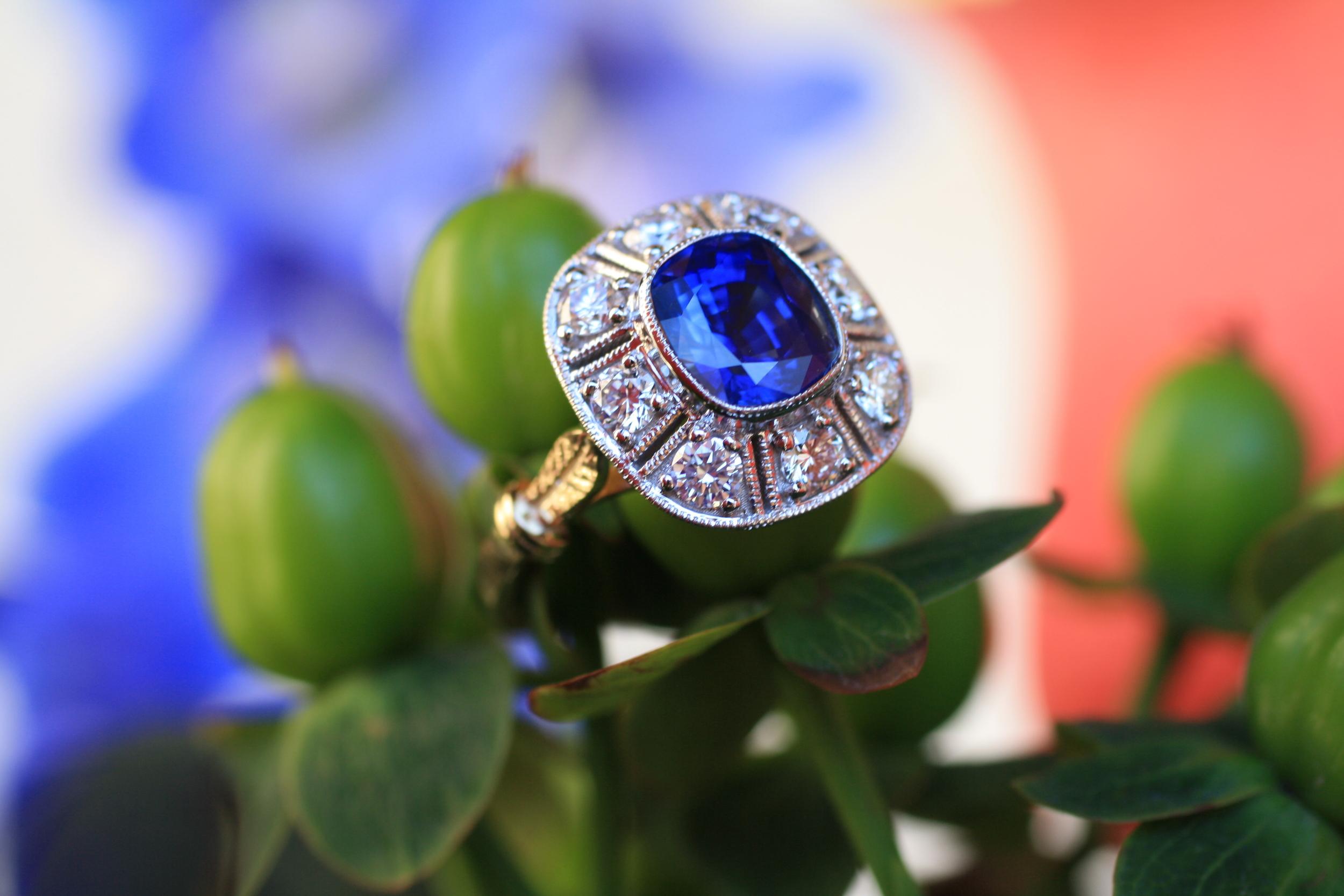 Blue Sapphire Mills Grained Diamond WG YG Ring_36.JPG