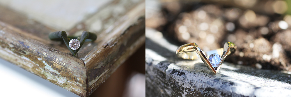Custom wax mold used to create stunning modern ring.