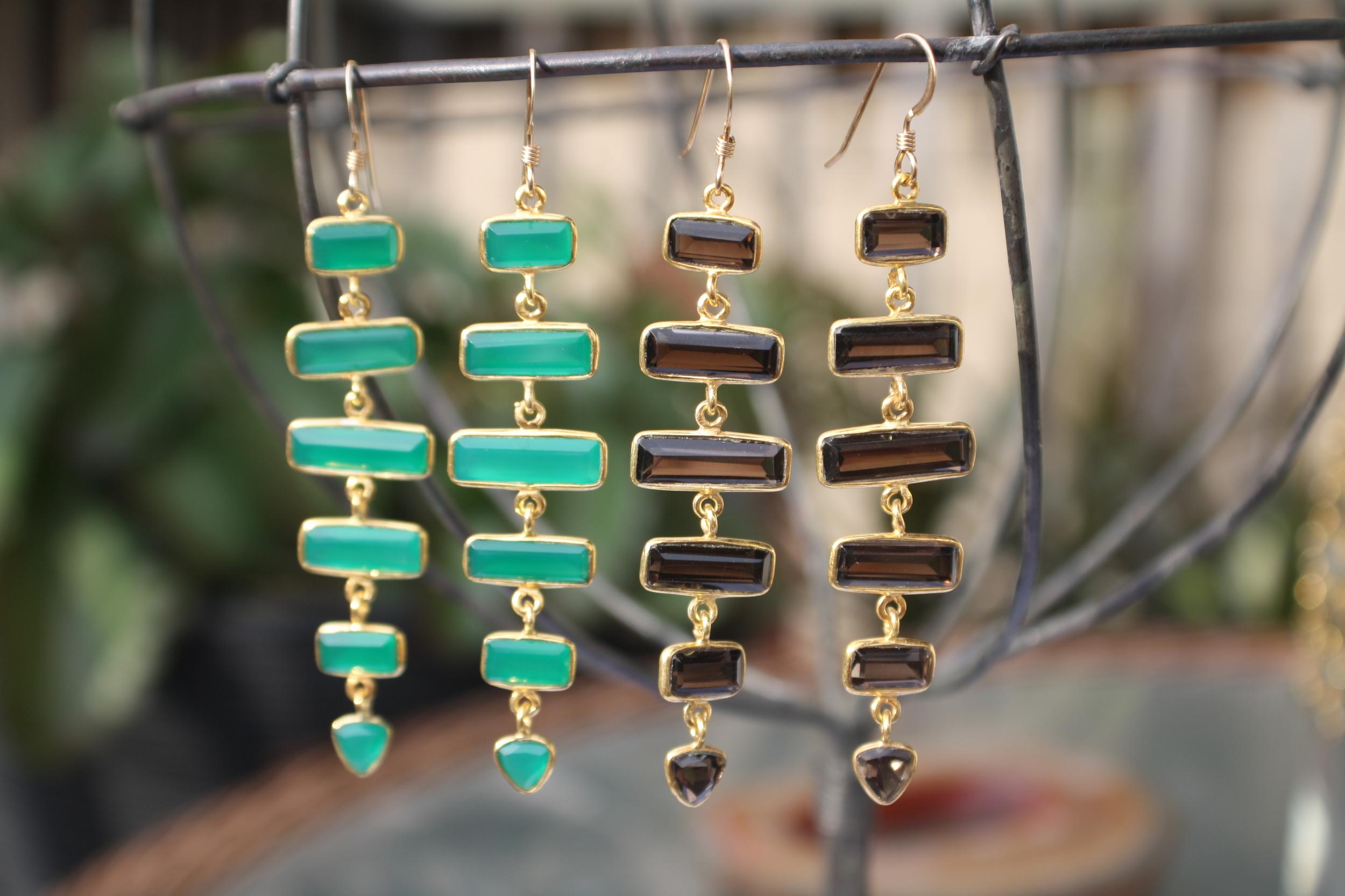 """Stairway to Heaven"" Green Onyx & Smoky Quartz Earrings"