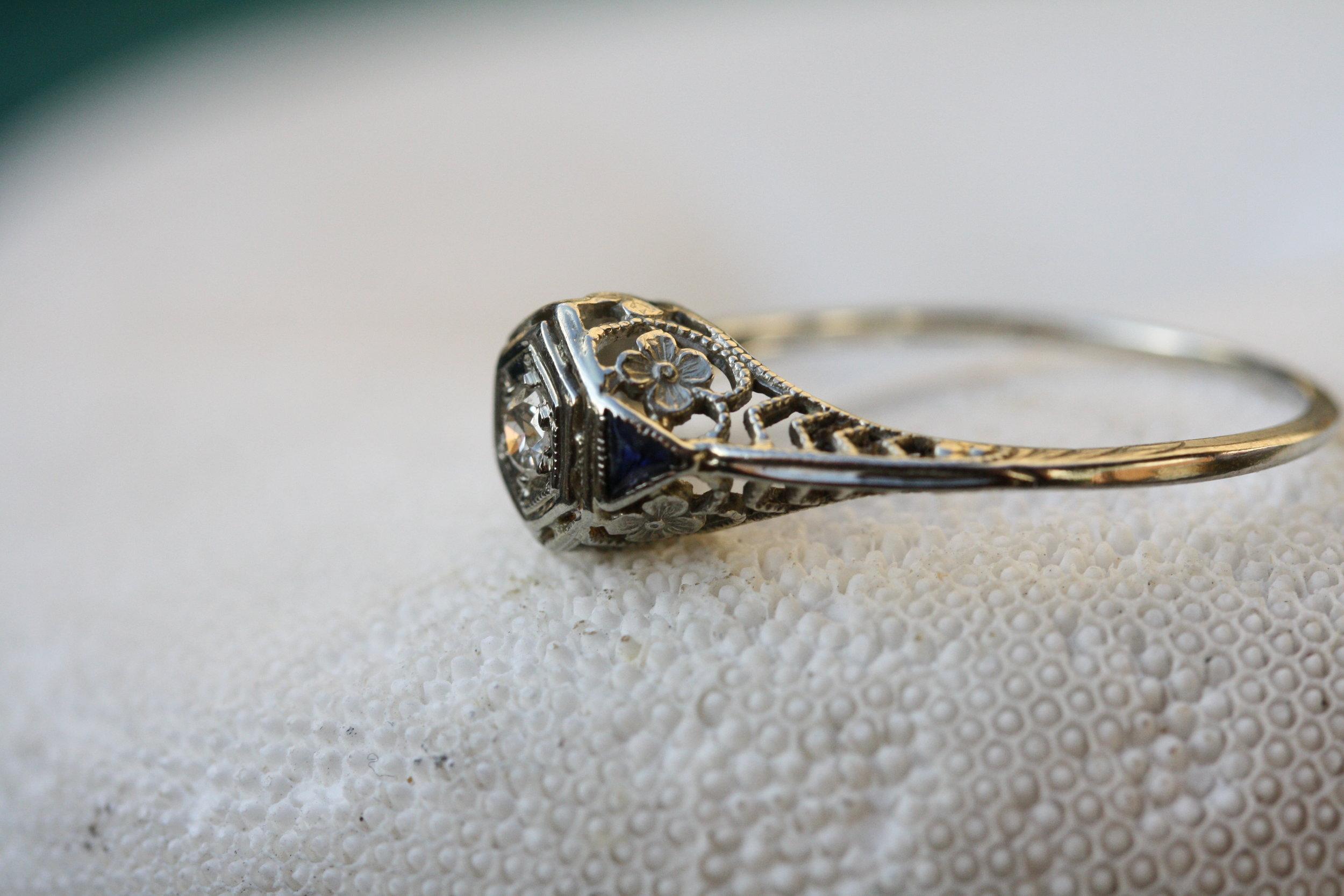 Estate Ring Diamond 2 Small Sapphires Floral Filligree_09 copy.JPG