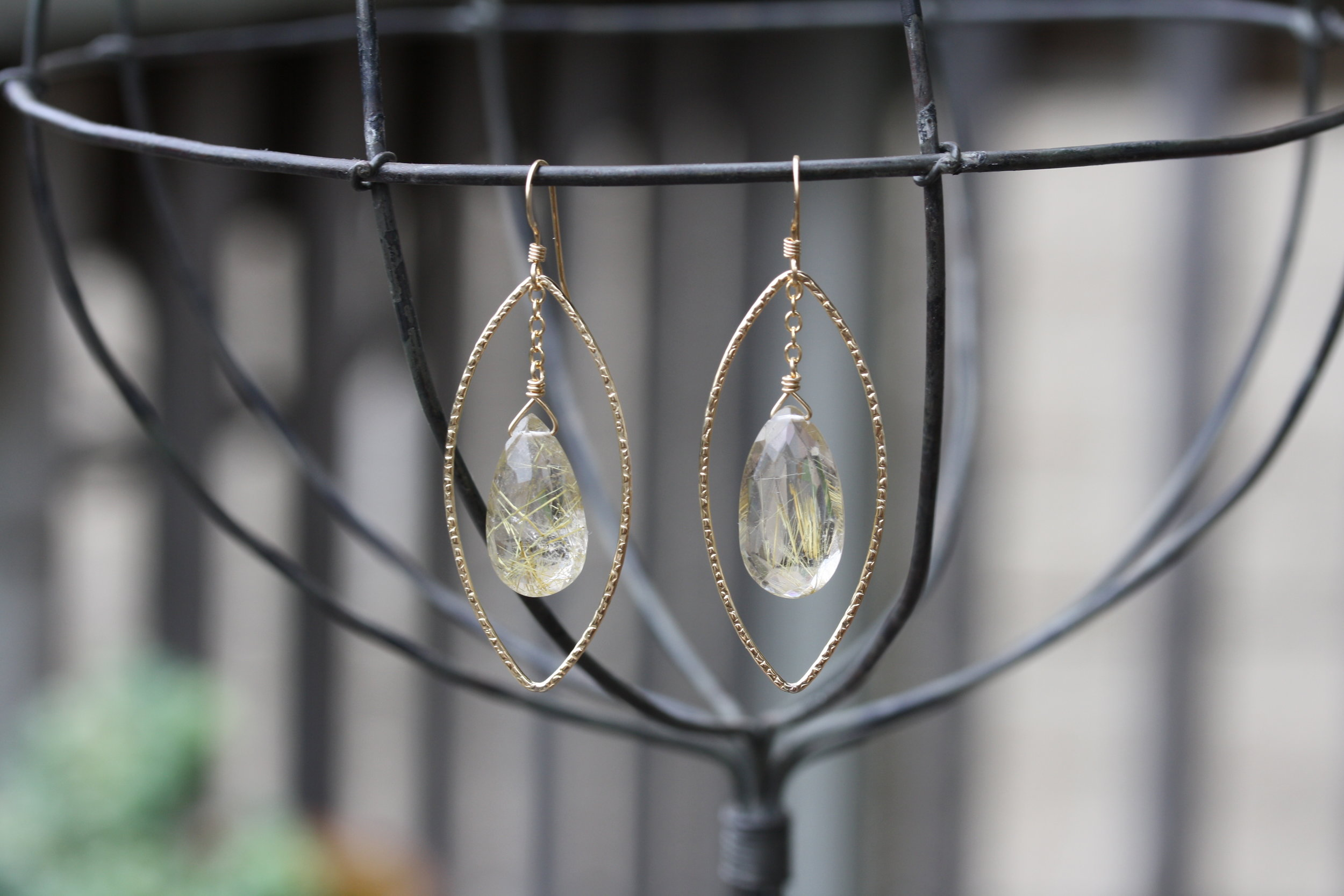 Golden Road Pear Rutilated Quartz Drop in Textured Gold Diamond Shaped Hoop Earrings_05 copy.JPG
