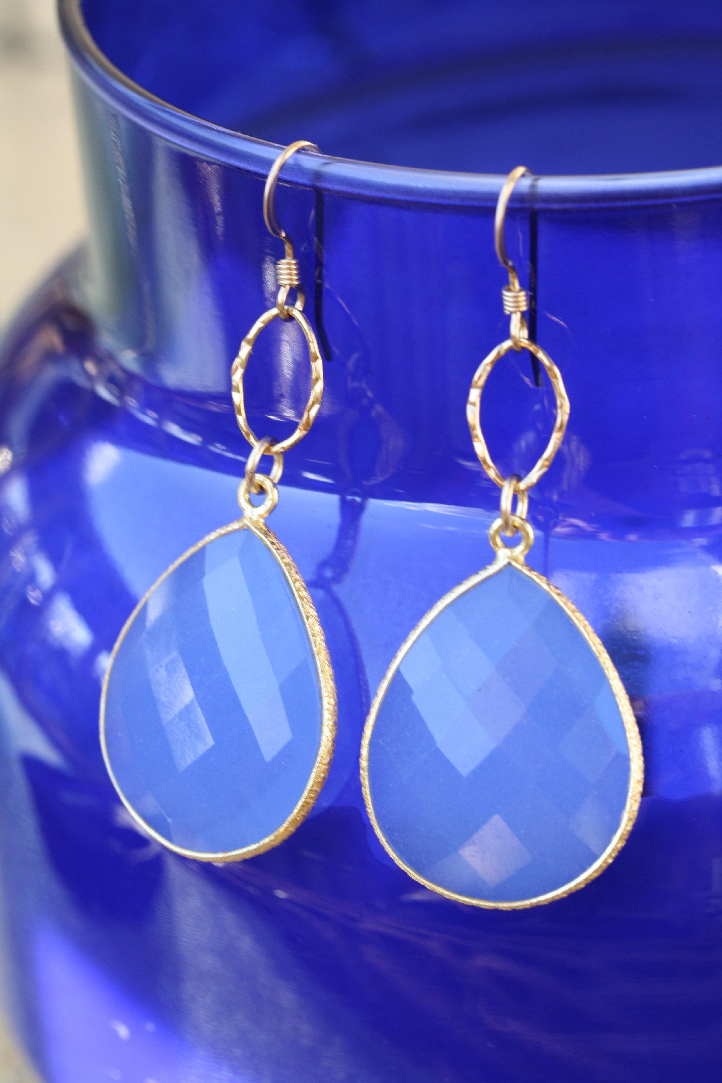 Blue Chalcedony Pear Drops on Hammered Hoop Earrings_02 copy.JPG