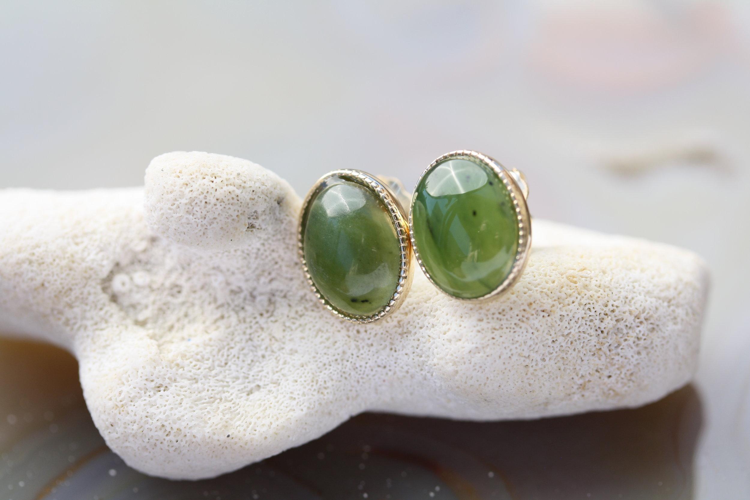 Jade Stud Earrings 14KY Bezel Millsgrain_23 copy.JPG