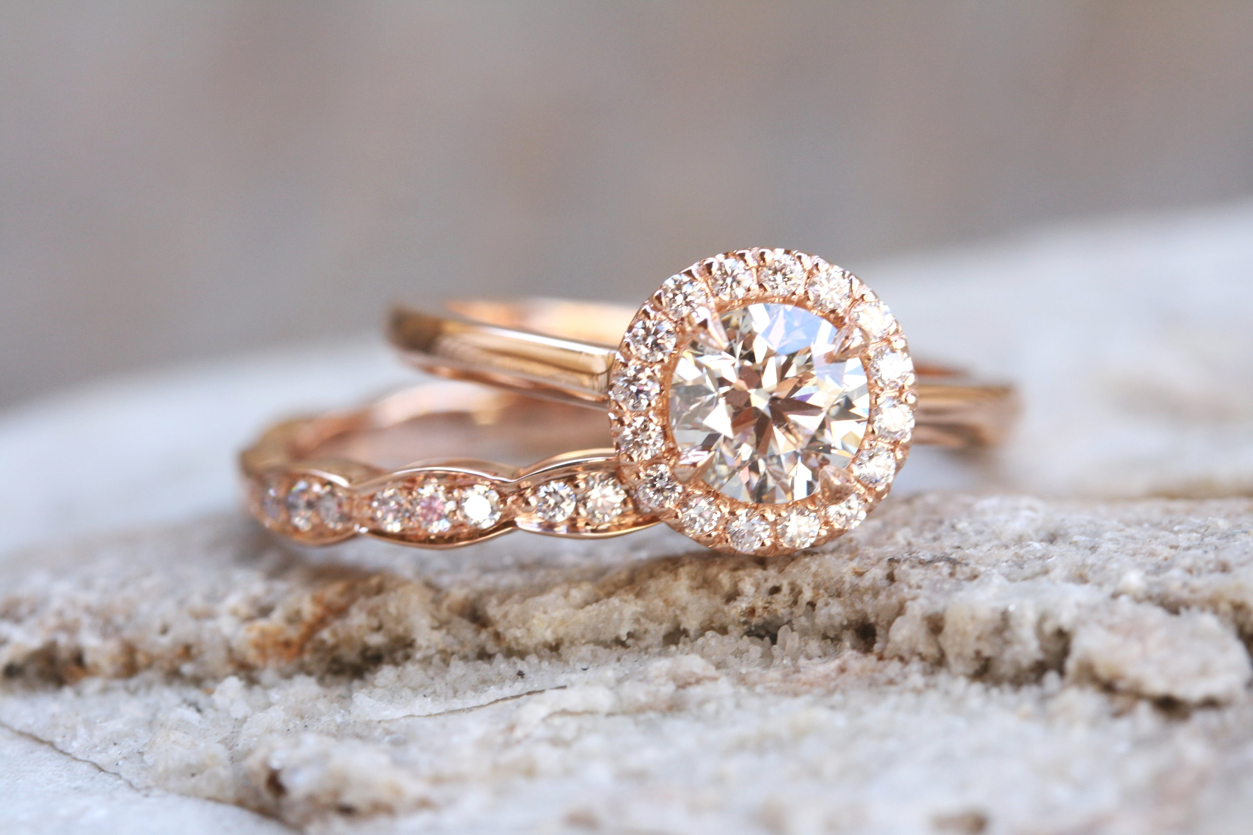 Rhiannan Sieck Custom Rosegold Diamond Engagement Ring and Wedding Band_25.JPG