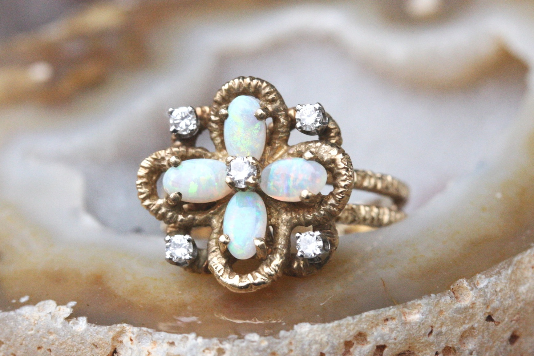Vintage Ring Flower 5 Diamond Opal Double Shank Etched 14K Yellow Gold Page Riggs Consignment_01.JPG