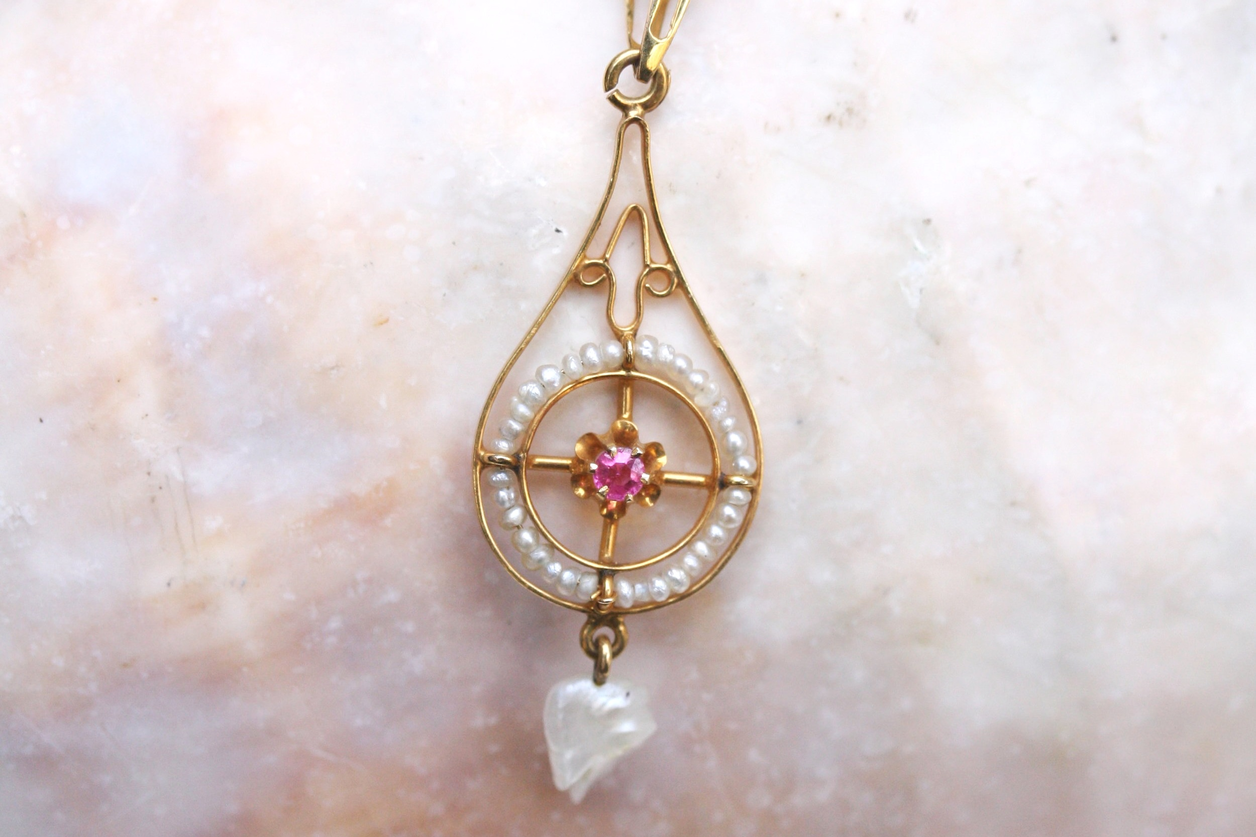 Vintage Converted Lavalier Ruby Pearl Round Yellow Gold Pendant_02.JPG
