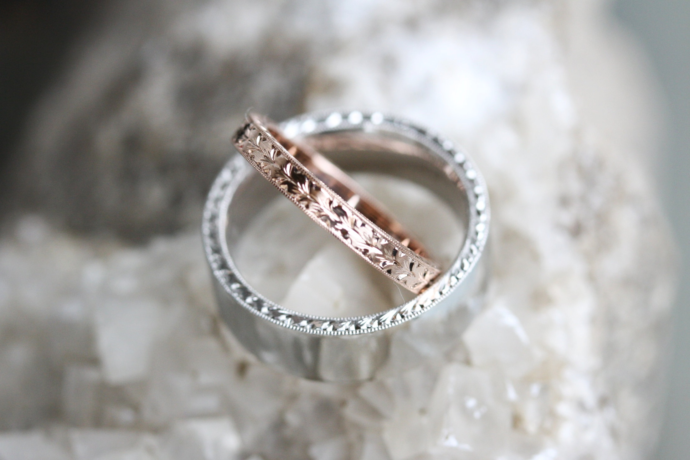 Hank Miller and Courtney Draiser Custom Wedding Bands 14kt White Gold and 14kt Rose Gold Engraved_22.JPG