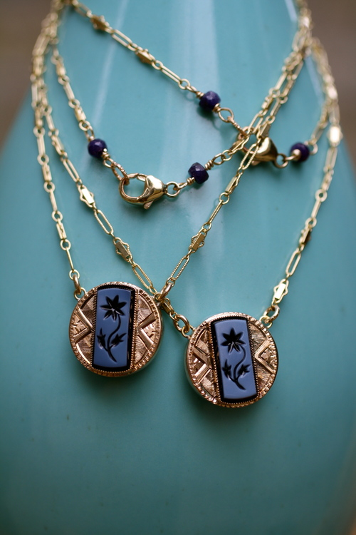 Circle+GF+Etched+w+Blue+Enamel+Flower+GF+Vintage+Inspired+Chain+Cufflink+Conversion+VCON+Necklace_02-1.jpg