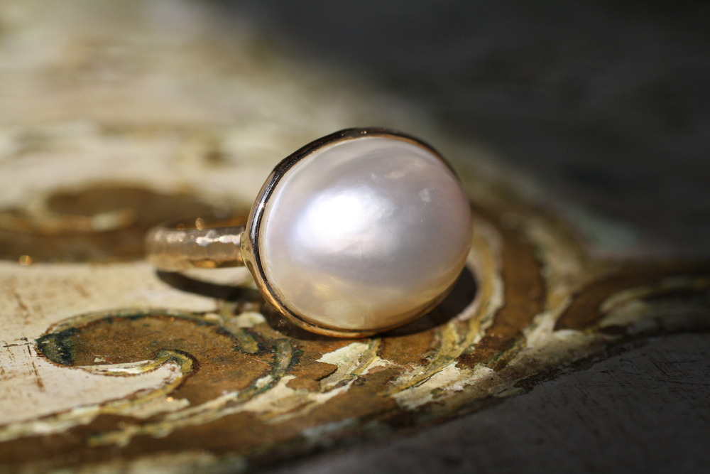 Pearl+Earring+to+Ring+Conversion+in+14KT+YG+Hammered+and+EWO_10.jpg