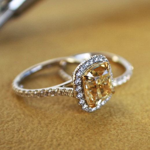 Janay+&+Nelson+Heinrichs+Custom+Natural+Canary+Engagament+Ring+set+in+Platinum+with+Platinum+Wedding+Band+&+Diamond+Halo_11.jpg