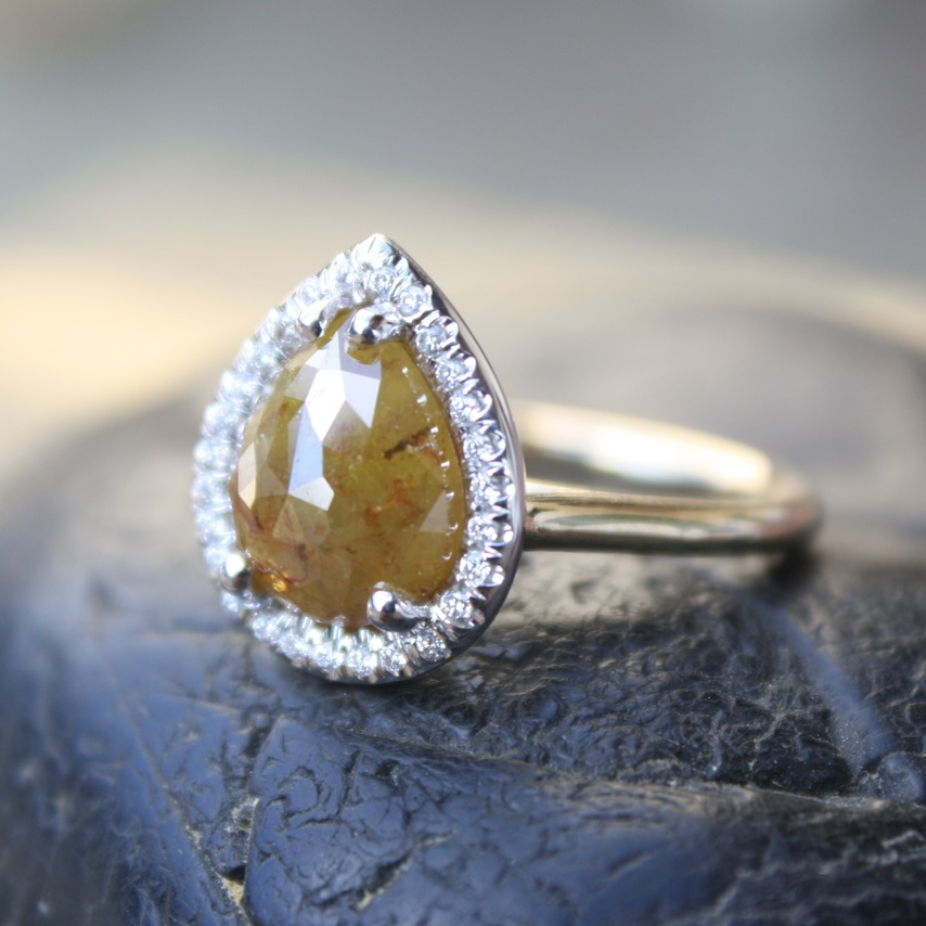 John+Morris+Yellow+Rustic+Diamond+Pear+Shape+with+Diamond+Halo+YG+Band+Engagement+Ring_10.jpg