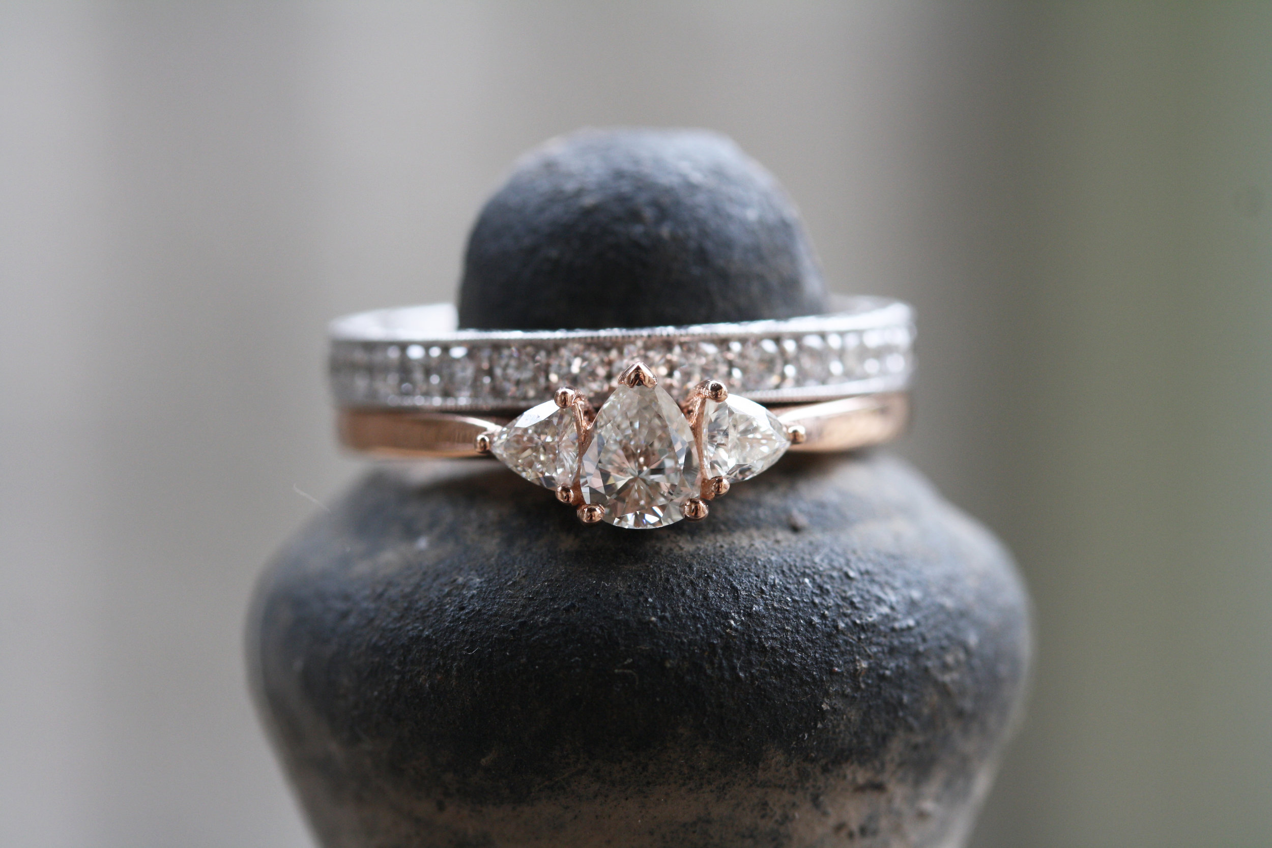Elizabeth Boyer Custom Engagement 3 Stone Diamond Rose Gold and Diamond White Gold Engraved WWB_05.JPG