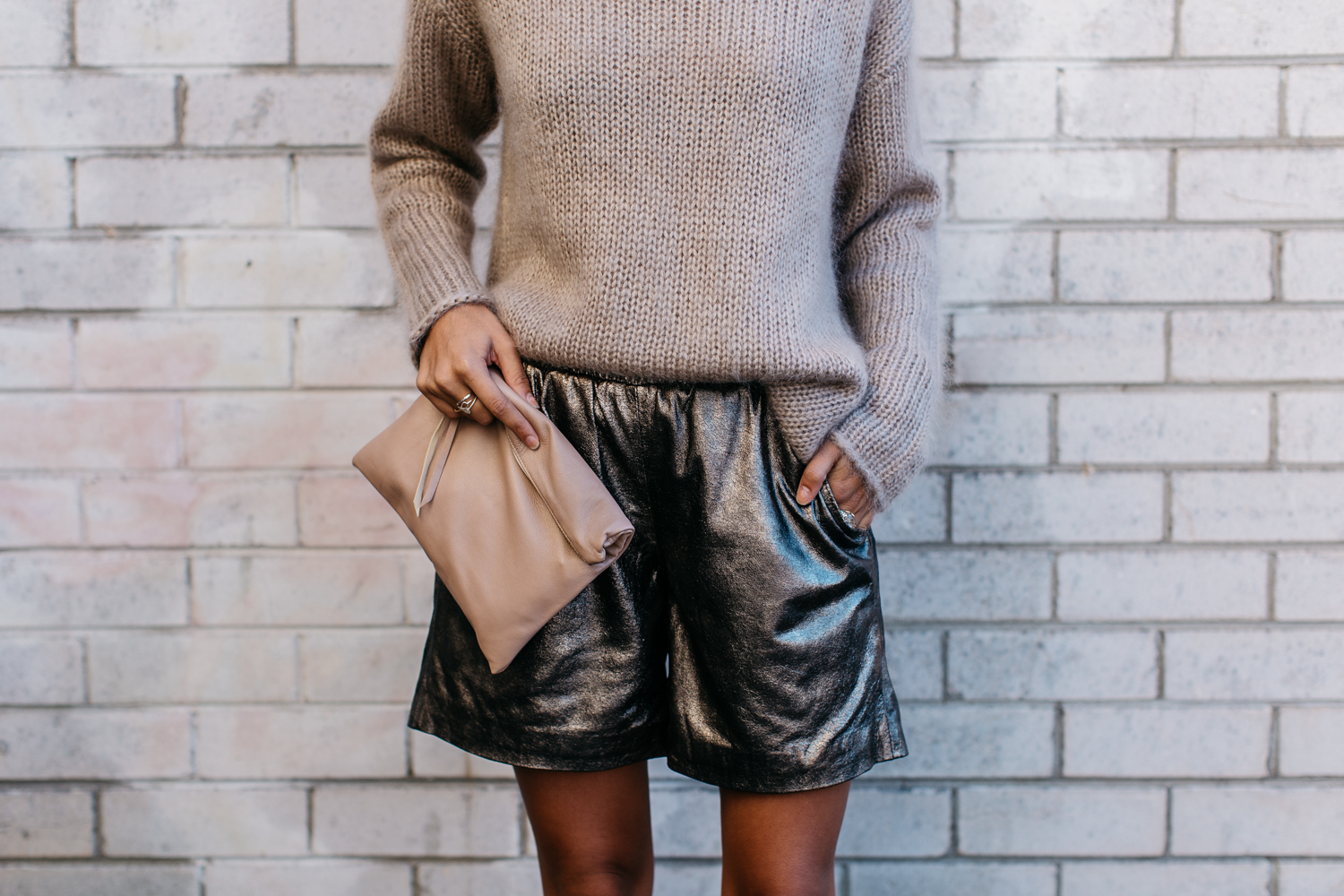Jumper ( Jac and Jack ) Similar ( here ,  here ,  here ) Shorts (Muubaa) Similar ( here ,  here,   here ) Bag ( Karmme ) Necklace ( Samantha Wills )