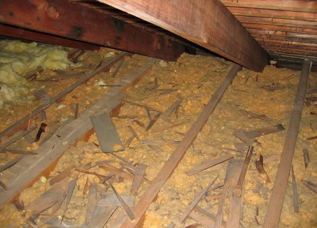 Old blown loose fiberglass insulation.