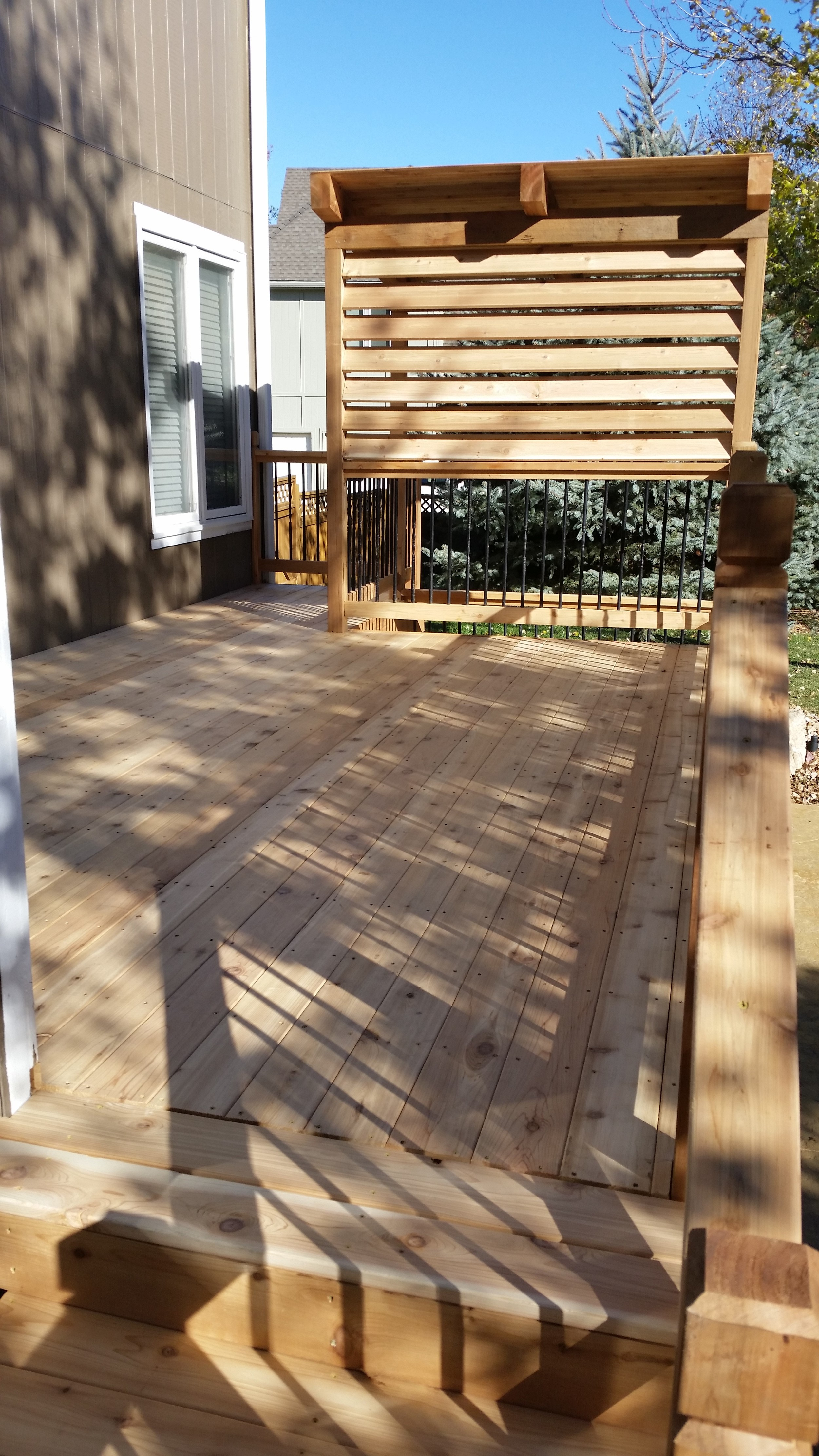 The rebuilt deck and pergola.