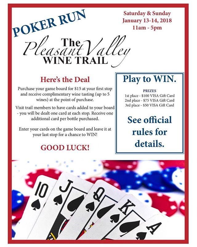 JOIN US THIS WEEKEND for the @pleasantvalleywinetrail poker run!! 🍷🥂