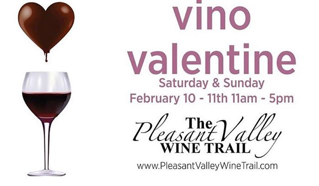 We love the @pleasantvalleywinetrail's annual Vino Valentine! We're offering complimentary chocolate fudge brownie bites with our Syrah 🍫🍷!!! See you soon!