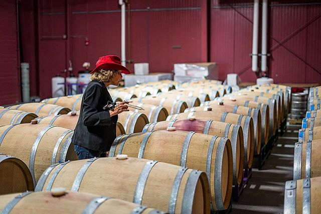 Serena tasting through the barrels today! 🍷🍇