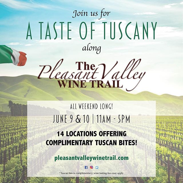 We are super excited for this @pleasantvalleywinetrail event in June. Join us for live music, plus a complimentary Tuscan bite paired with our glorious Sangiovese! 🍷🇮🇹
