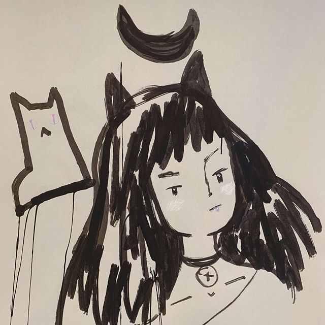 @fantasyboytaro made me a cool new tool from roll on deodorant felt and India ink to keep me #drippy this #inktober 🖤🧟‍♀️🖤#inkdrawing #cat #witch #drip #mopbrush #ink