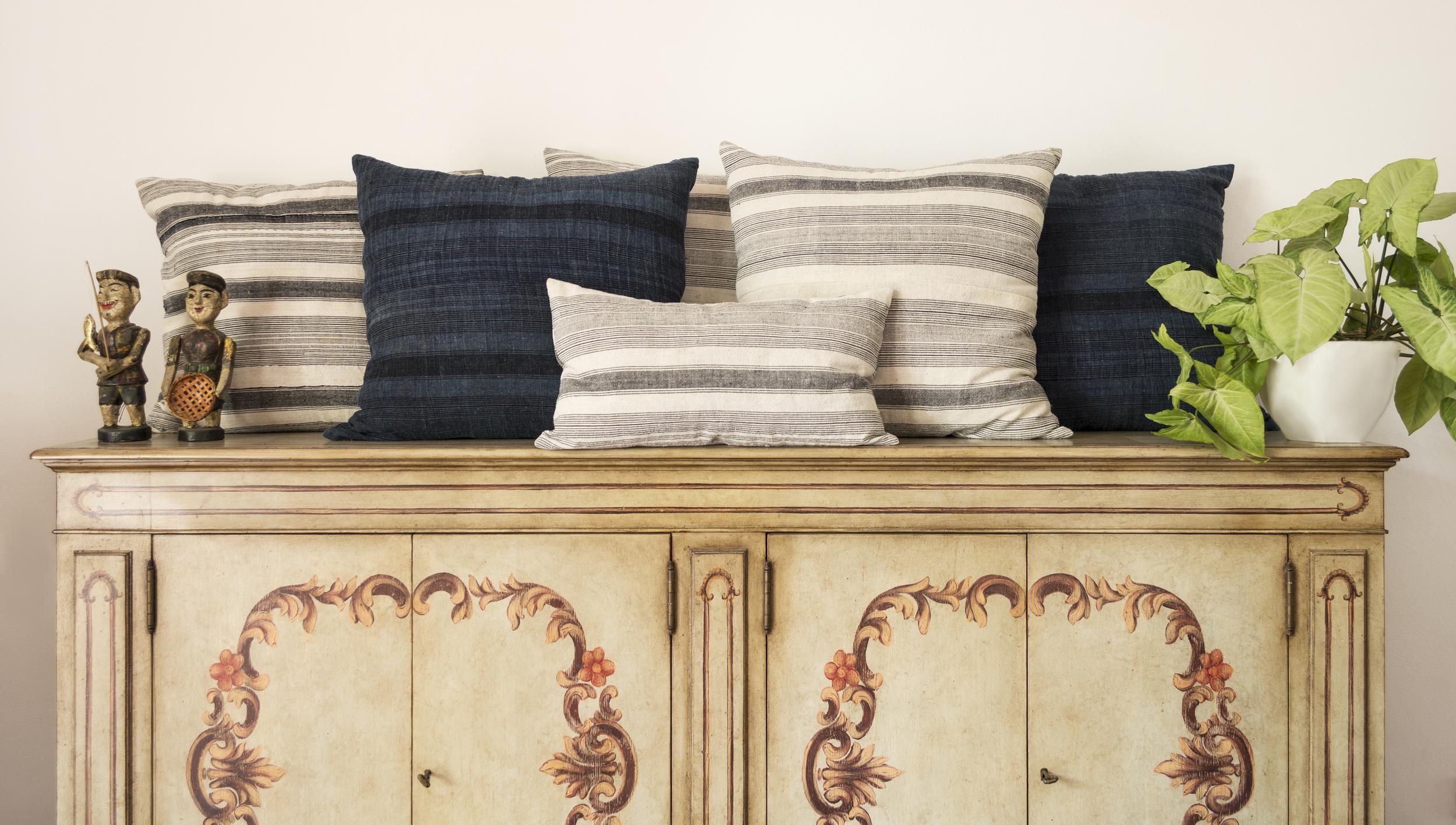 Lily Koi Vintage French Stripe Pillow 5.jpg