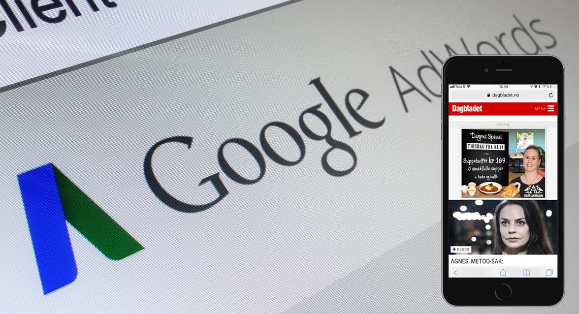 """Google display nettverket gir deg blant annet muligheten til å annonsere mot lokale målgrupper i både nasjonale og lokale nettaviser. Her vises et eksempel fra Kafè Jærbuen sin kampanje for """"Dagens Spesial"""" på dagbladet mobil."""