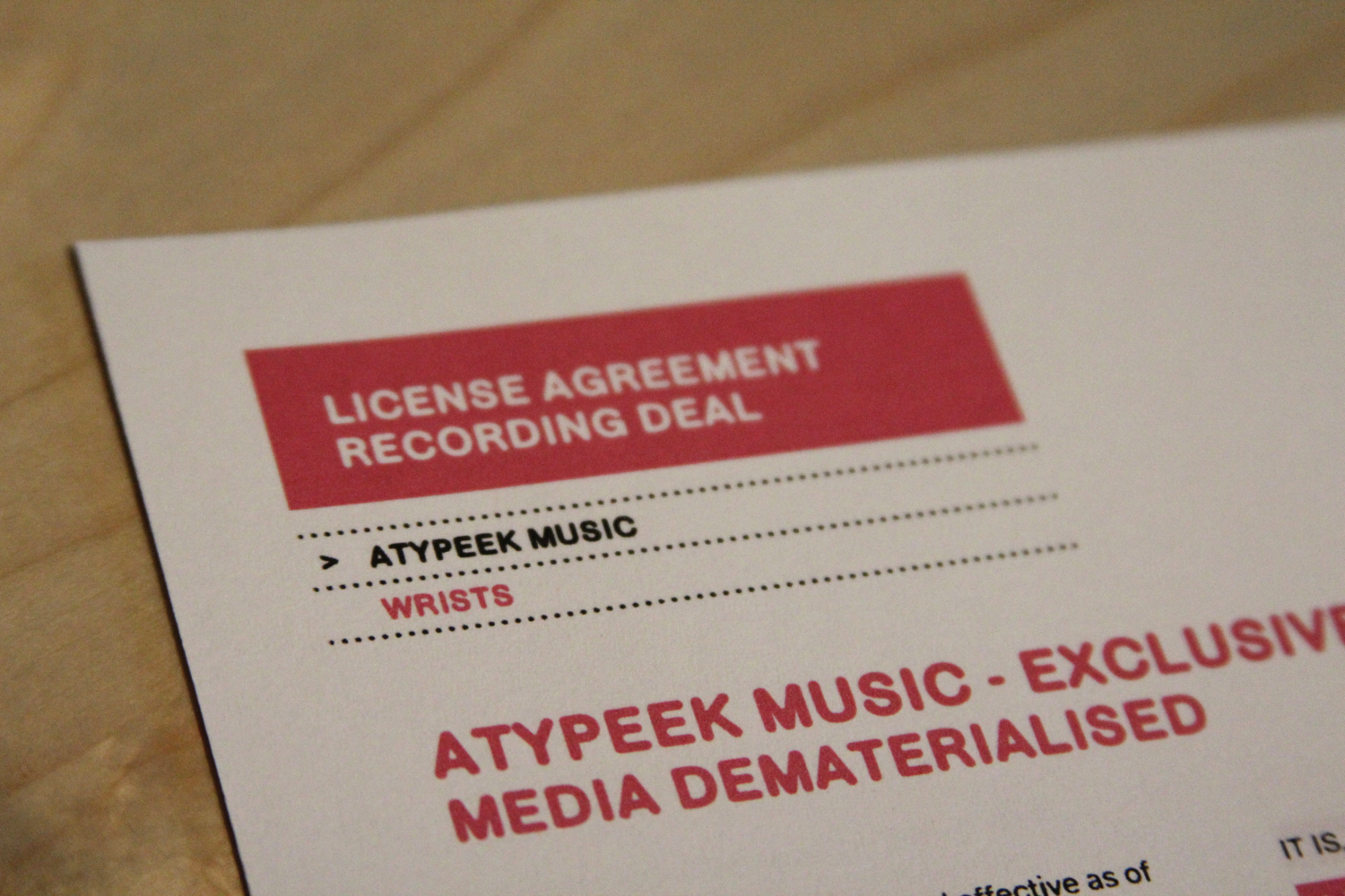 Contract With Atypeek Music