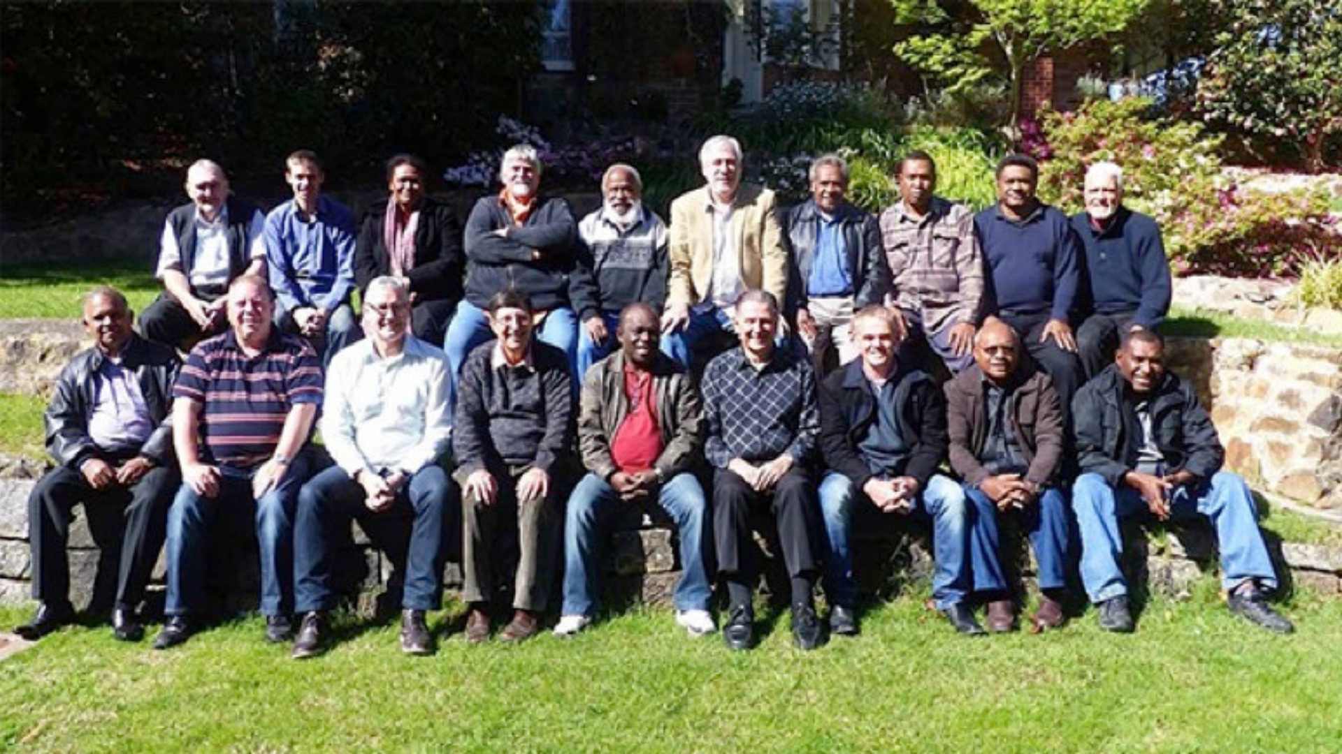 INTERNATIONAL LEADERS GATHERING 2014  BACK ROW (LEFT TO RIGHT) Barry Silverback, Jono Osborne, Gena Wari, Hans Voortman, Peter Igarobae, Bill Vasilakis, Fuwe Hageyo, Ai Wari, Alipate Yagomate, Neil Milne  FRONT ROW (LEFT TO RIGHT) Earnest Somanathan, David Wallace, Danny Parker, Kevin Hughes, Remy Adams, Mike Cronin, David Wright, Jimmy Vasula, Barnabas Tabara