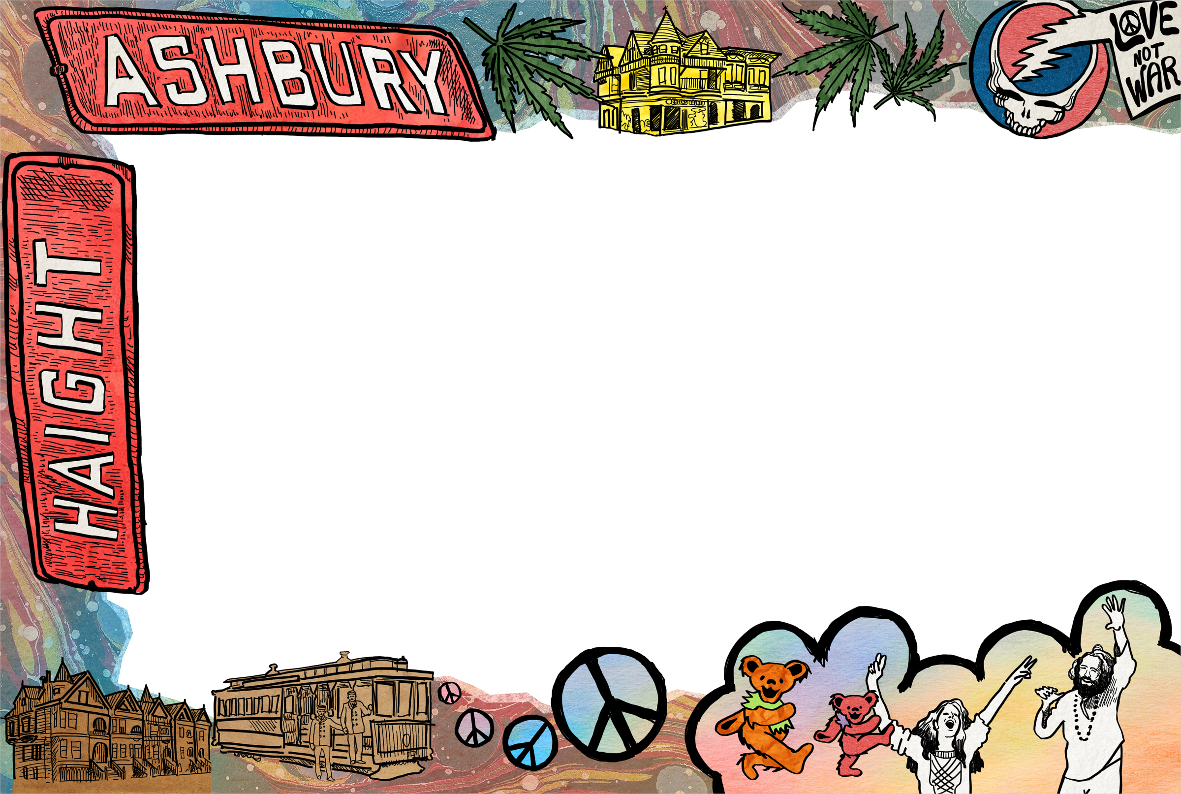 Border illustrations for an 8-page article on the history of Haight-Ashbury, published in  The Battery Candy  magazine.