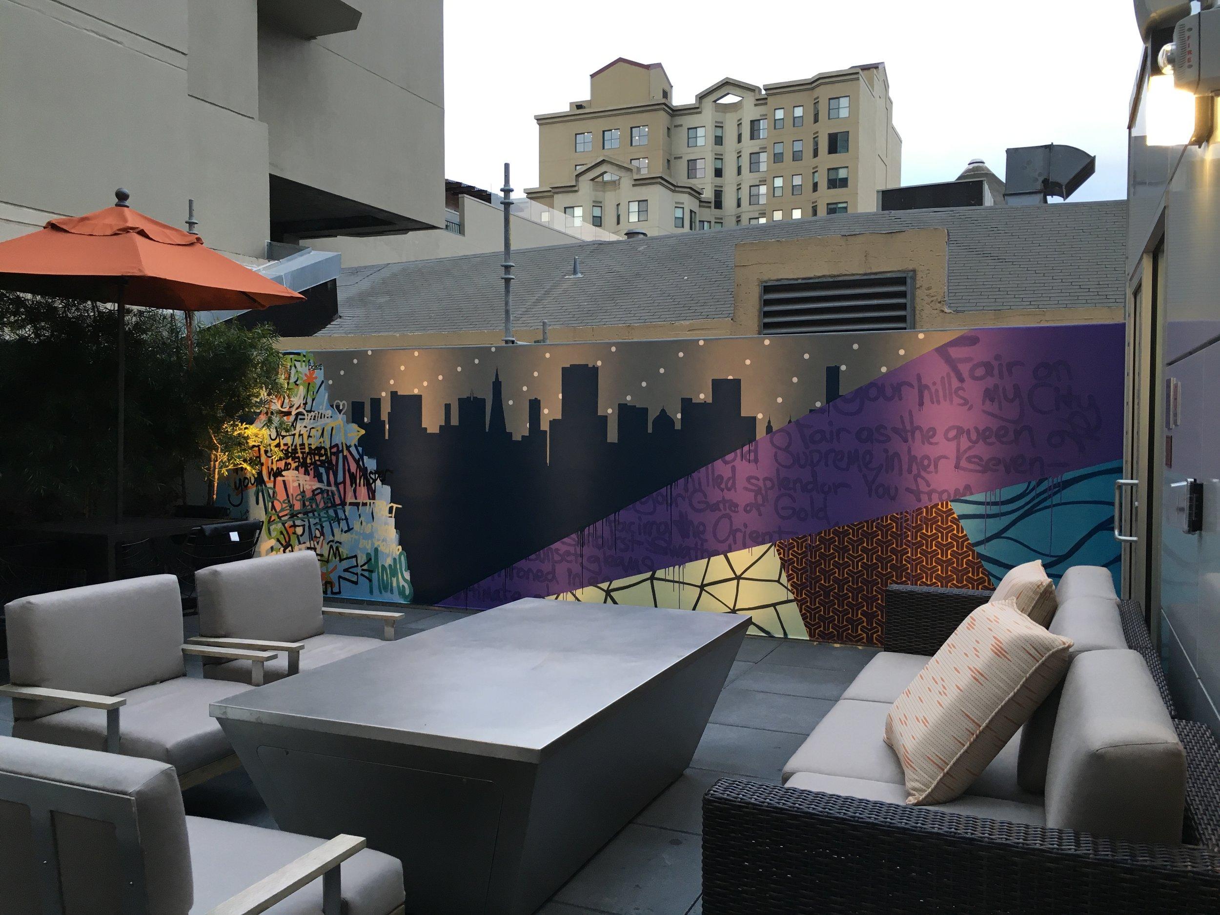 Strider Patton - Courtyard Marriott mural - San Francisco, CA 2016
