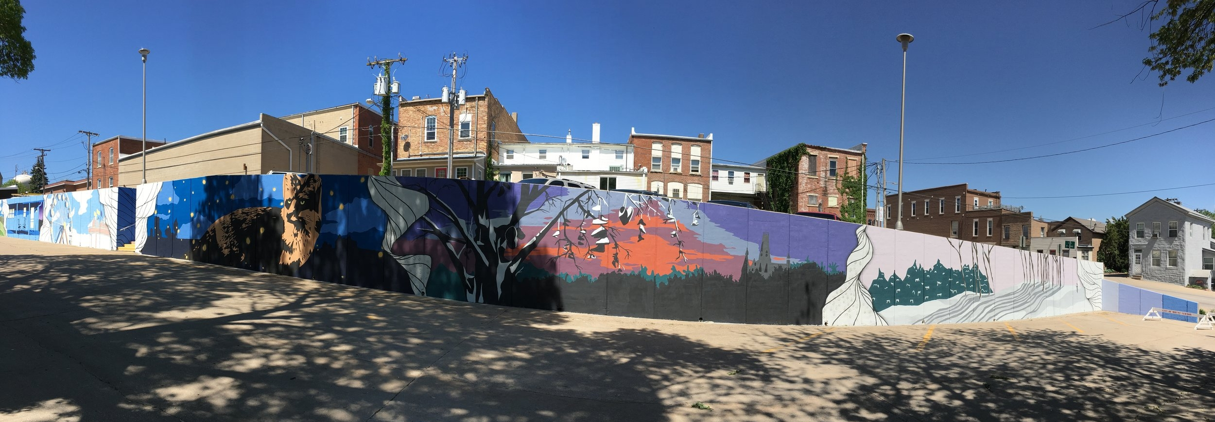 Strider Patton - Mount Vernon Iowa Youth Community Mural Project 2017 - Eastern wall