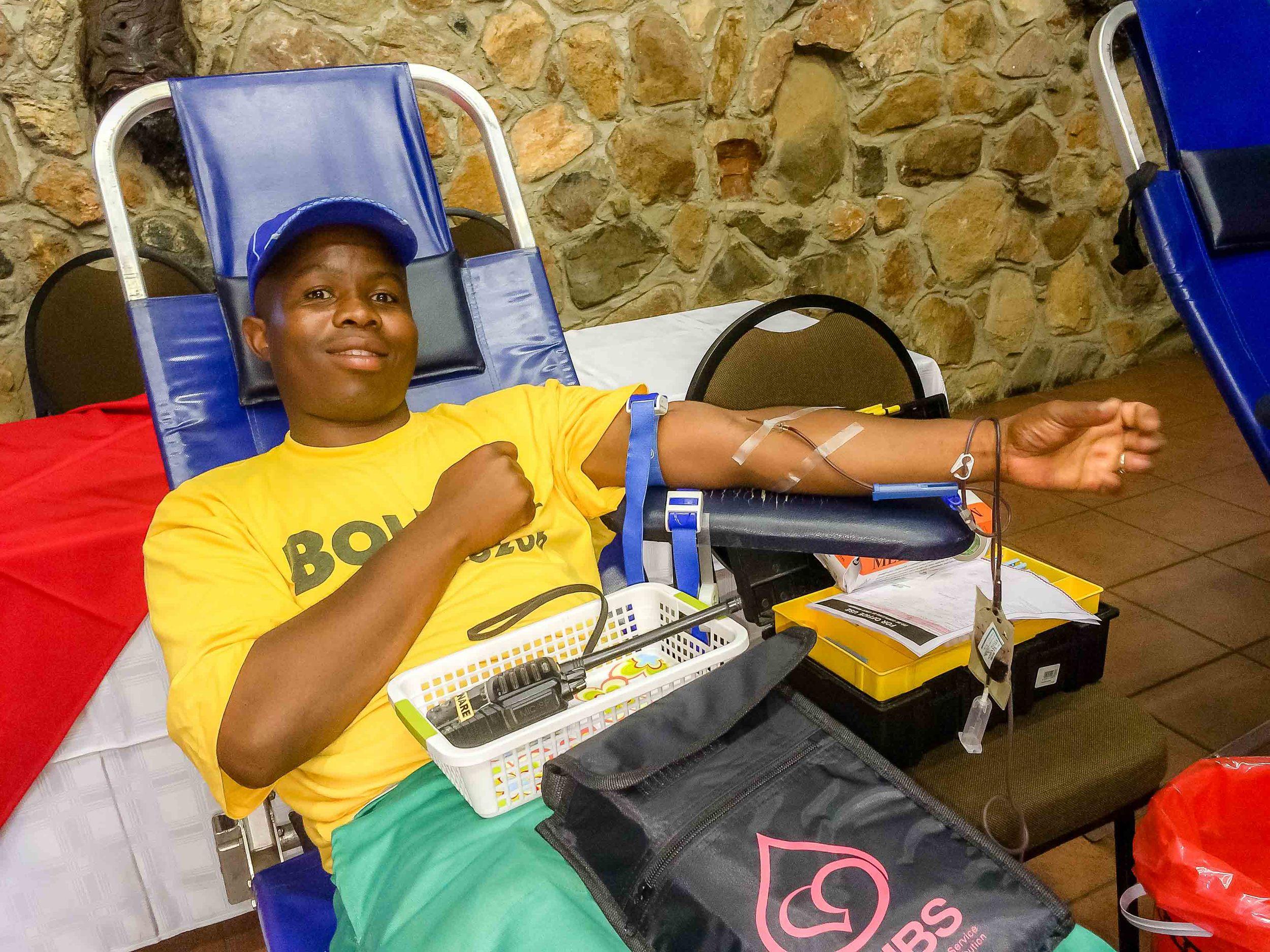 Donating blood at Bolivia Lodge