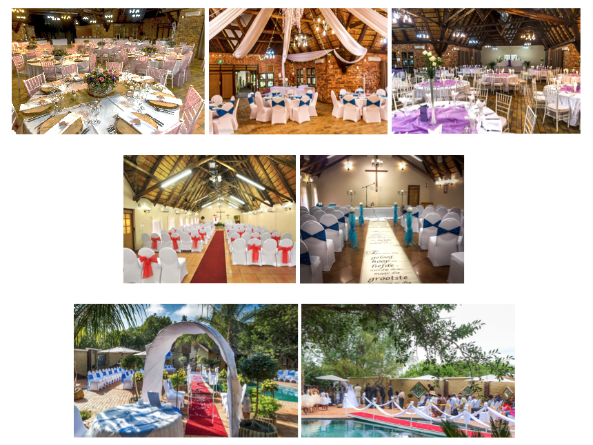 AbOve TOP: Baobab Hall. CENTRE: Our two chapels. 3rd row: Our Pool deck set up with our white bridge for a wedding ceremony.
