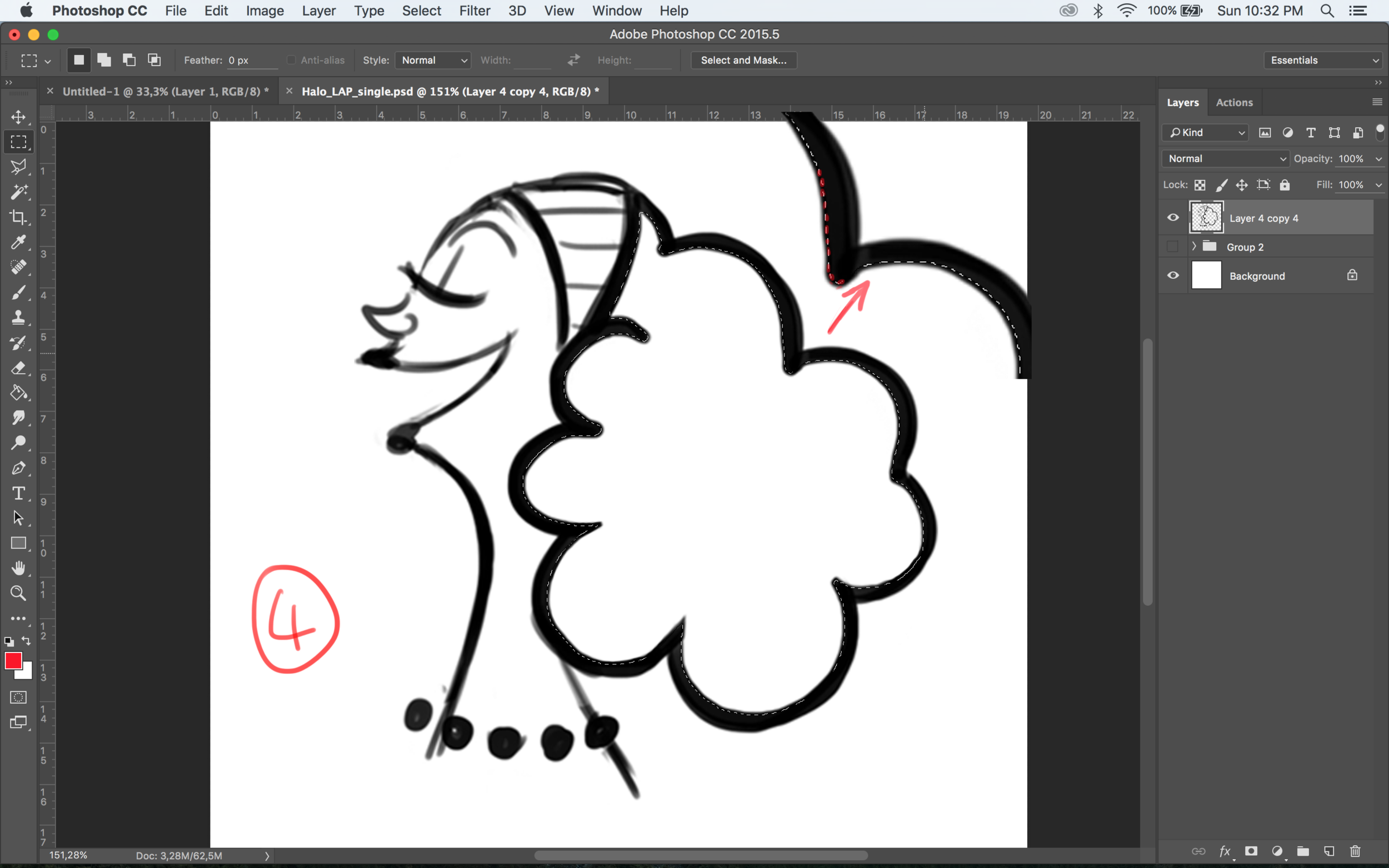 5) Create a layer underneath your line work and fill it in with paint bucket tool....awesome!