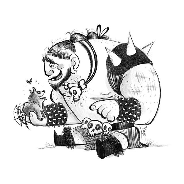 Puppppyyyyyy...! . . . . .⠀⠀⠀⠀⠀⠀⠀ #lorrainealvarezposen  #visdev  #Dailyart  #instaart #characterdesign #sketchoftheday #sketchbook #sketch #drawingoftheday #barbarian #puppy