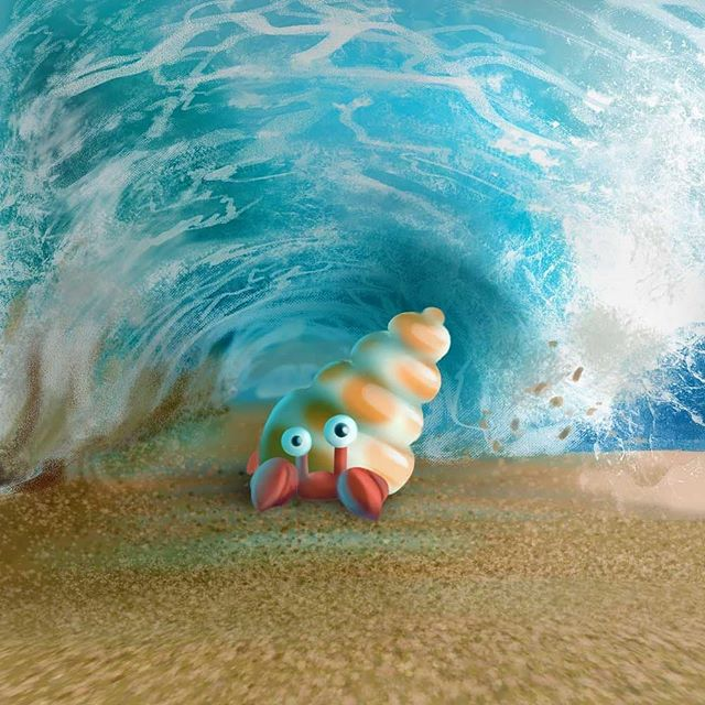 Harold was having one of those days... . . . . #lorrainealvarezposen #illustrationow  #visdev  #Dailyart #childrenswritersguild #instaart #characterdesign  #best_of_illustrations #wave #hermitcrab #childrensillustrator