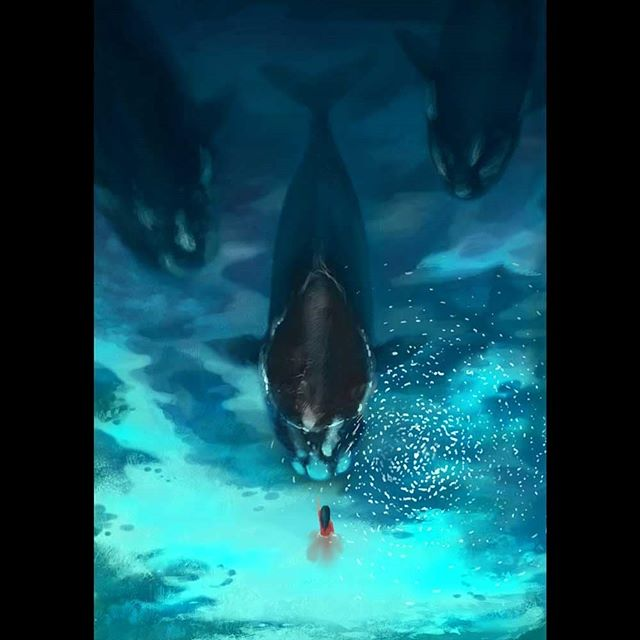 They drew nearer entranced by her song... My submission for Wacom 'The Next Level' competition. @wacom  @wacomanz  @justanotheragency . . . . #lorrainealvarezposen #illustrationow  #visdev  #Dailyart #childrenswritersguild #instaart #whale #digitalillustration  #best_of_illustrations #wacomnextlevel #wacom #rightwhale