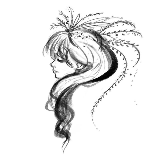 I don't draw alot of pretty ladies (for some odd reason haha). So you might see a more in the next little while. . . . . .⠀⠀⠀⠀⠀⠀⠀ #lorrainealvarezposen  #visdev  #Dailyart  #instaart #characterdesign #sketchoftheday #sketchbook #sketch #blackworknow #drawingoftheday #girlsketch #floralhair