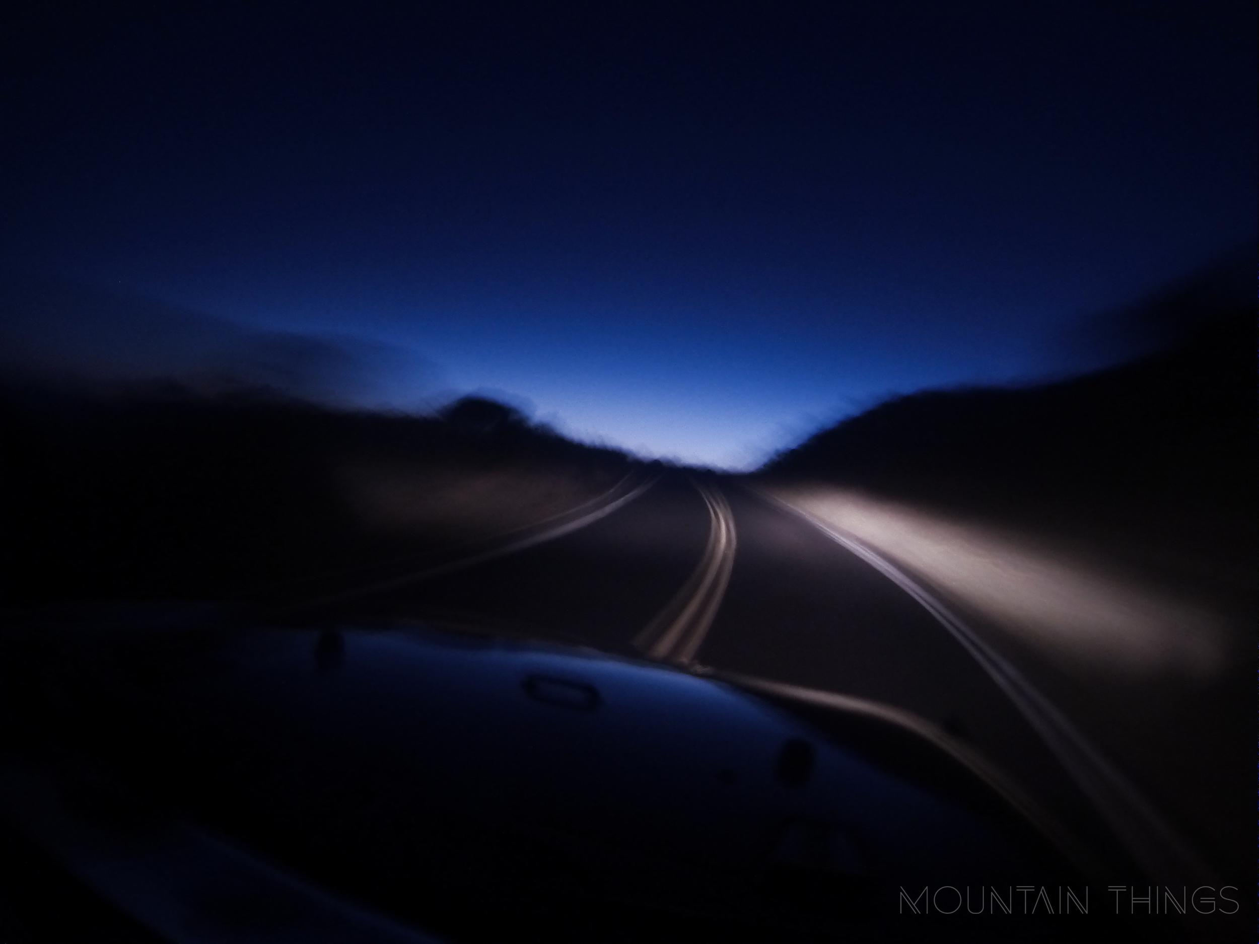 First blues of twilight on Haleakala road. This photo also showcases how wonky GoPro photos can get in dark conditions.
