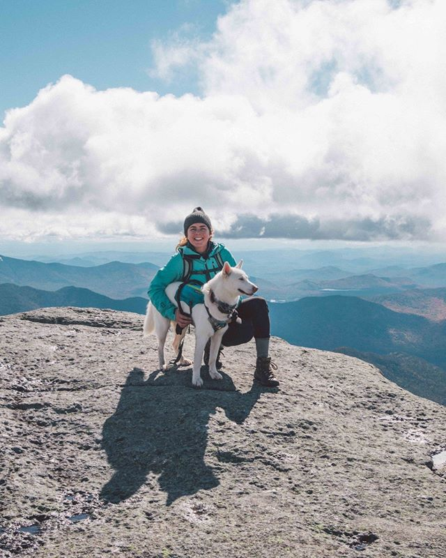 Topping out on the highest #46er is nothing when you have your own personal sled dog to take you uphill. @katiejoyshaw and her pooch, Kenobi, tackled Mt. Marcy with incredible ease back in 2018, leaving the rest of us heaving in their dust. _  This week, our crew (plus a few more!) are heading back to the High Peaks Region to check three more peaks off our list. Pray for my legs...namely, my left ankle. smack that #linkinbio to check out last year's adventure on #mtmarcy, and learn how I dealt with a sprained ankle with five miles to go. _ #dogsthathike #huskiesofinstagram #mountaindogs #adirondacks #visitadk #nols #wildernessmedicine #visitlakeplacid