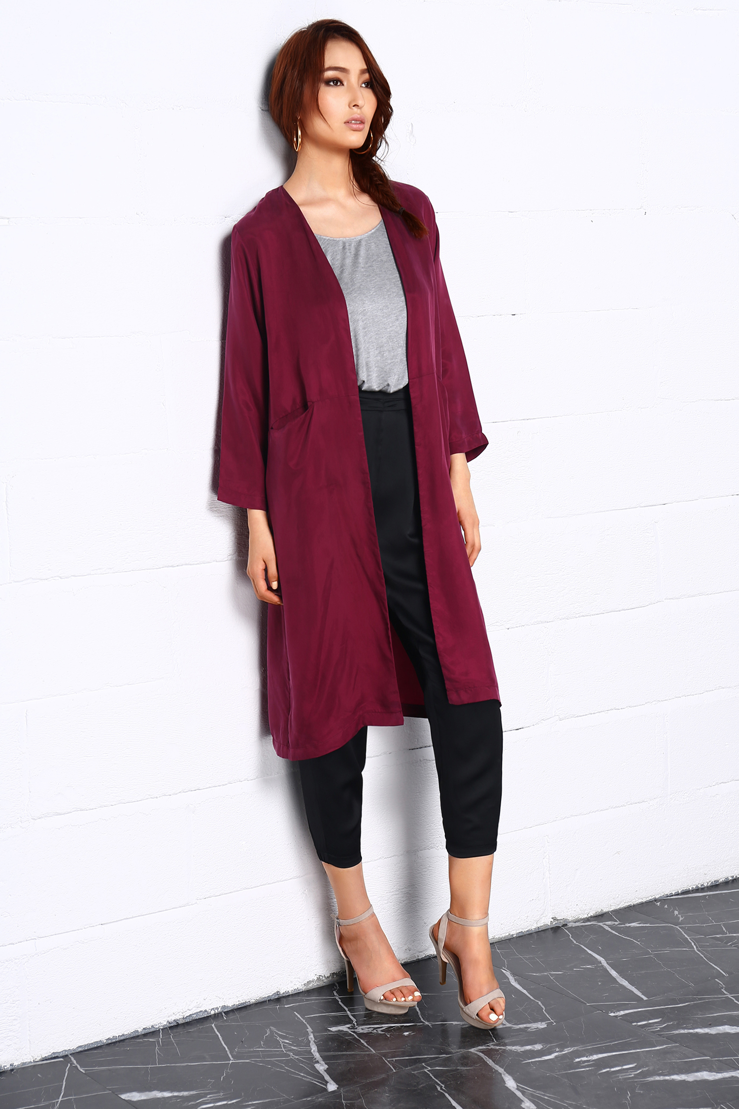 Travelle Style Fall Fashion Fabrics Lagerose Hong Kong Red Duster Coat