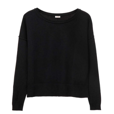Cuyana Wool Cashmere Boatneck Sweater Black