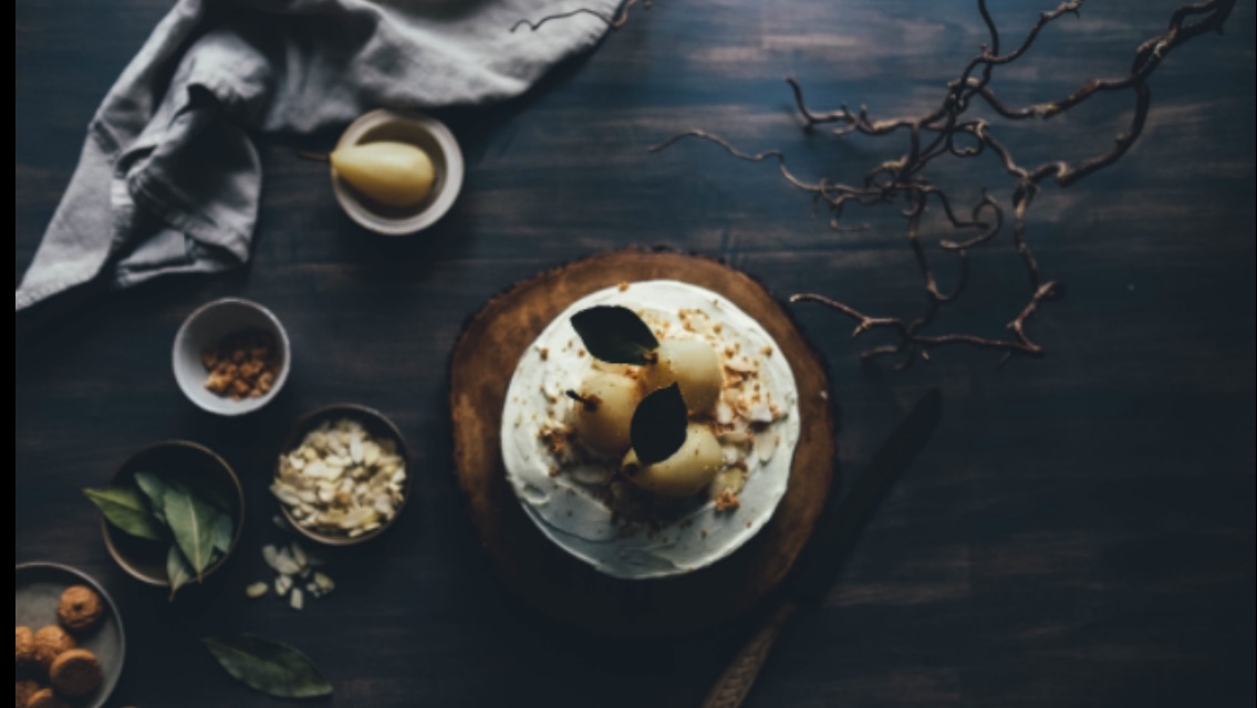 Farm to table, poached pears