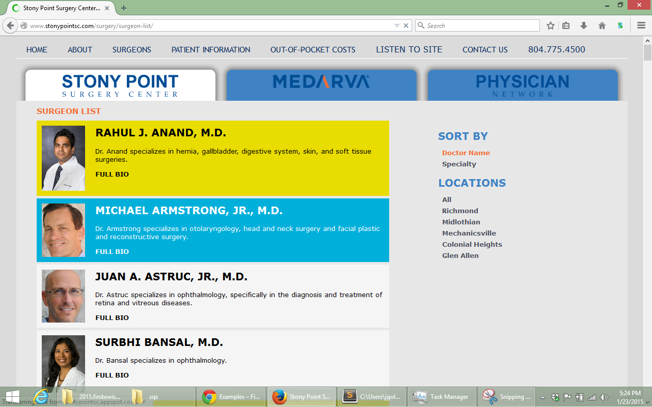 Doctor list page