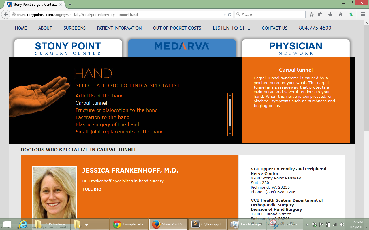 Specialty page